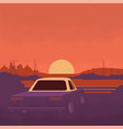 night background with car flat vector image vector image