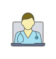 online doctor consultation with laptop medical vector image