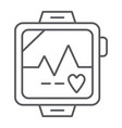 pulsometer thin line icon heart and cardio vector image vector image
