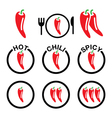 Red hot chili peppers icons set vector image vector image