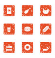 retail dealer icons set grunge style vector image vector image