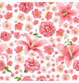 rose and lily seamless pattern card vector image