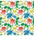 seamless pattern with funny dinosaurs vector image vector image