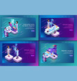 set banner isometric medical treatment for patient vector image vector image