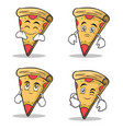 set collection pizza character cartoon vector image vector image