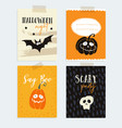 set of cute halloween party cards invitations vector image
