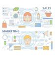 set of thin line sales and marketing vector image