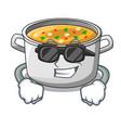 super cool cartoon chicken soup pot for dinner vector image