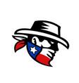 texas bandit cowboy side retro vector image vector image