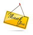 Thank you on yellow sign message symbol isolated vector image