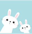 two rabbit bunny set in corner friends vector image vector image