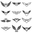 winged emblems frames icons angel and phoenix vector image