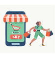 woman doing online shopping bag vector image vector image