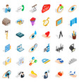 work space icons set isometric style vector image vector image