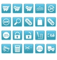 Shopping icons on blue squares vector image