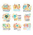 education labels original design set of logo vector image