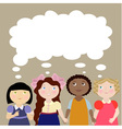 4 girls with thinking bubble vector image