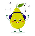 a cute pear green character in cartoon style vector image