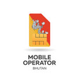 bhutan mobile operator sim card with flag vector image vector image