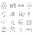 Black Line Cinema Icons Set vector image vector image