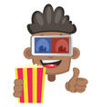 boy with popcorn and 3d glasses on white vector image vector image