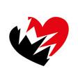 broken black heart icon heartbreak vector image
