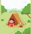 camping and man in tent summer outdoor activity vector image