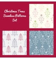 Christmas Trees Seamless Patterns Set vector image vector image