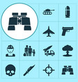 combat icons set collection of cutter aircraft vector image vector image