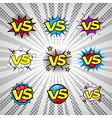 Comic book versus vintage bubble icon set vector image vector image