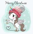 cute cartoon unicorn in a hat vector image vector image