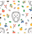 cute seamless pattern with little hedgehog apples vector image vector image