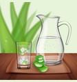 detox aloe drink composition vector image
