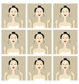 Face massage with asian woman for your design vector image