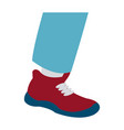 foot male with red shoe design vector image