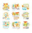 happy teachers day labels set logo graphic vector image vector image