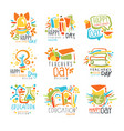 happy teachers day labels set of logo graphic vector image vector image