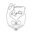 human rights concept man hands create love heart vector image