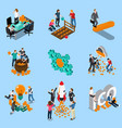 initial coin offering isometric icons vector image vector image