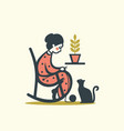 knitting woman with cat vector image vector image