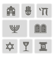 monochrome icons with jewish symbols vector image