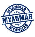 myanmar blue round grunge stamp vector image vector image