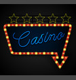 neon banner on text casino background vector image vector image