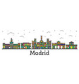 outline madrid spain city skyline with color vector image vector image