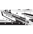rail freight wagons are loaded on ferry boat vector image