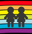 rainbow flag backdrop lgbt gay symbol two woman vector image vector image
