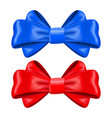 red and blue silk ribbon bows decoration element vector image vector image