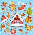 red green and yellow christmas items on vector image