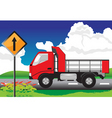 red truck on the road with signs vector image