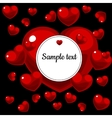Round frame with picture of red hearts with text vector image